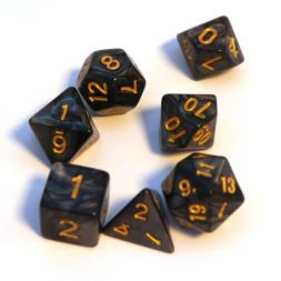 Dice Set Pearl: Black/Gold (7 Dice)